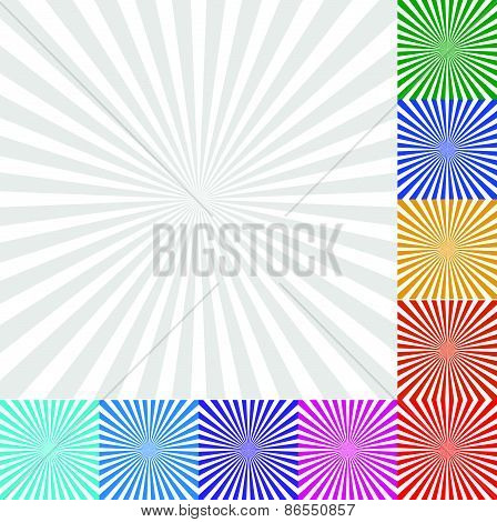 Sunbeam, Starburst - Sunburst Background Set. 9 Colors And A Monochrome Version
