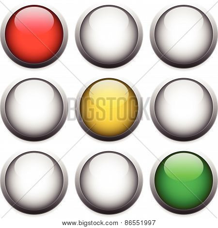 Traffic Lights, Lamps Isolated On White. Red, Yellow, Green Lights. Stop, Wait, Go Concepts.