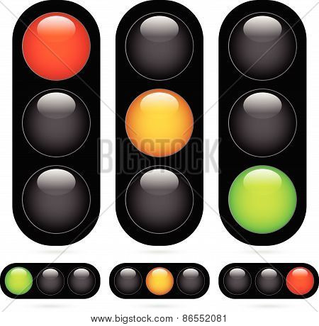 Traffic Light / Traffic Lamp Set. Vector Illustration.
