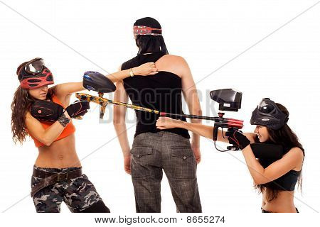 Paintball Girls Fight For The Man