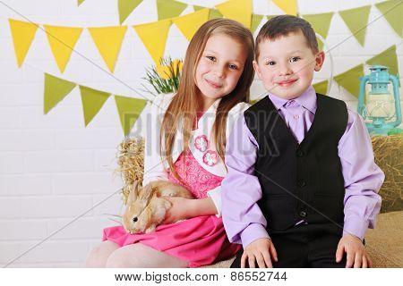 Portrait Of Children With Rabbit