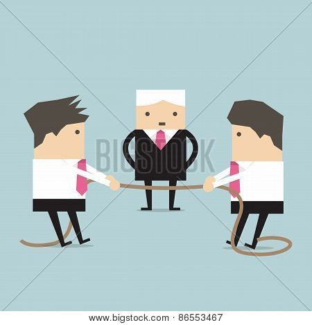 Businessman pulling rope, tug of war, in business competitive concept