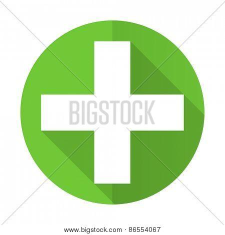 plus green flat icon cross sign