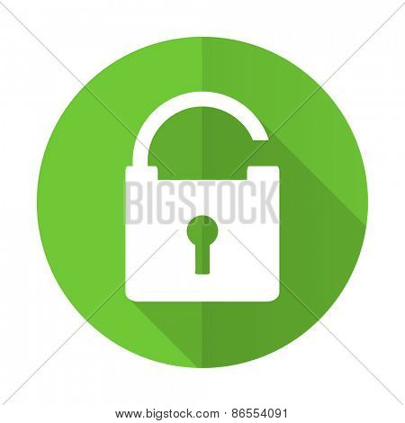 padlock green flat icon secure sign