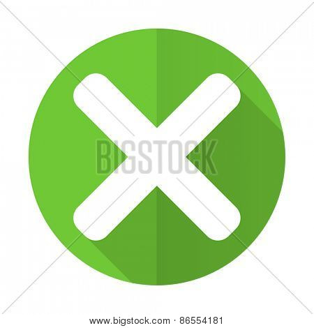cancel green flat icon x sign