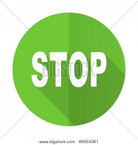 stop green flat icon