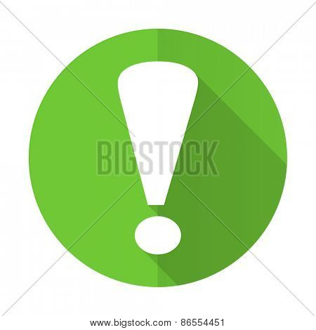 exclamation sign green flat icon warning sign