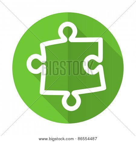 puzzle green flat icon