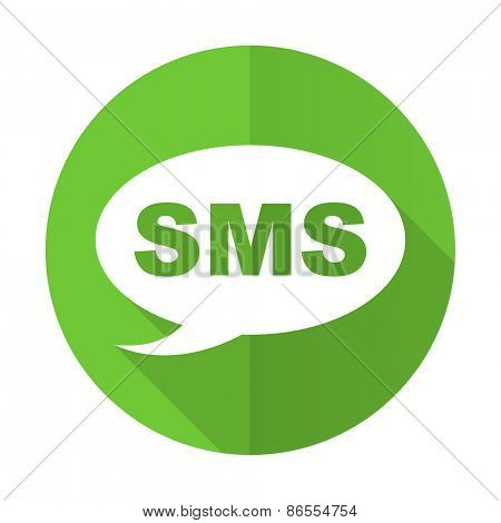 sms green flat icon message sign
