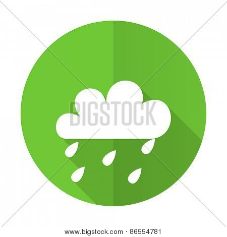 rain green flat icon weather forecast sign
