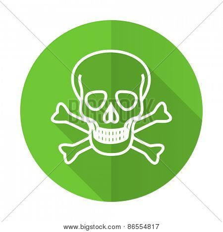 skull green flat icon death sign