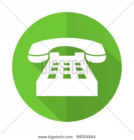 phone green flat icon telephone sign