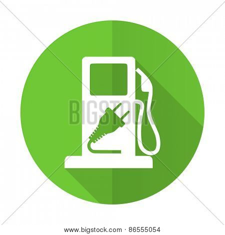 fuel green flat icon hybrid fuel sign