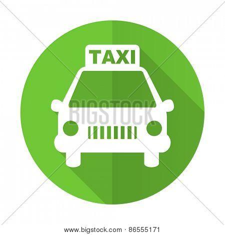 taxi green flat icon