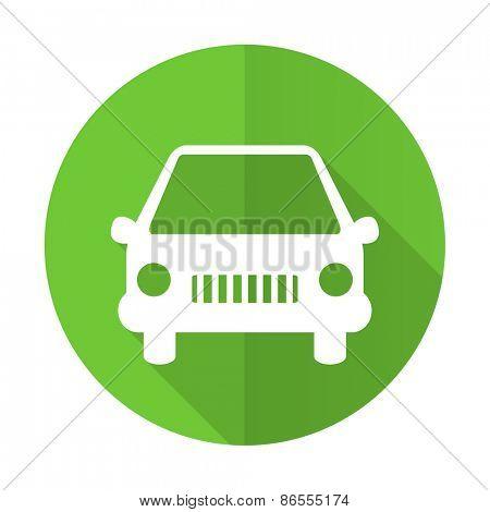 car green flat icon auto sign