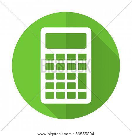 calculator green flat icon