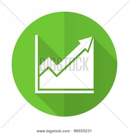 histogram green flat icon stock sign