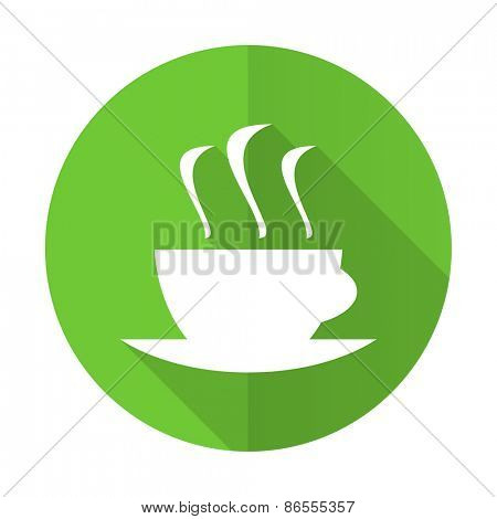 espresso green flat icon hot cup of coffee sign
