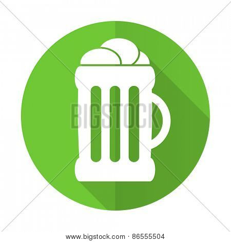 beer green flat icon mug sign