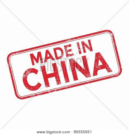 MADE IN CHINA red rubber stamp vector over a white background