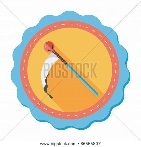 Halloween Scythe Costume Flat Icon With Long Shadow,eps10