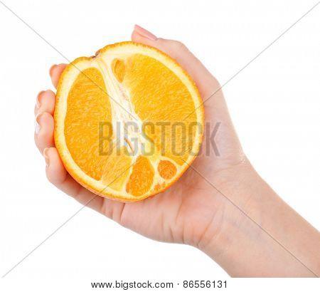 Female hand holding orange isolated on white