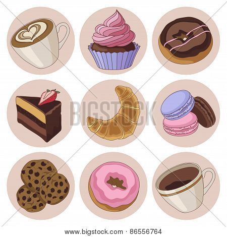 Cookies and coffee isolated set