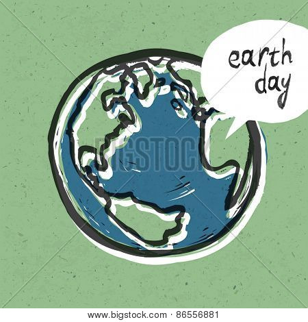 Earth day poster. On recycled paper texture