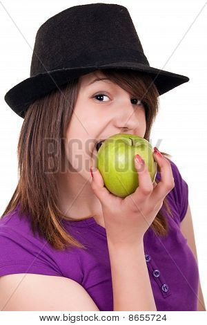 Portrait Of A  Girl Eating An Apple