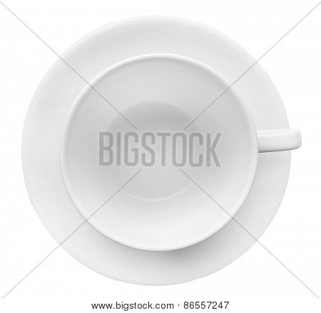 Top view of empty cup, isolated on white