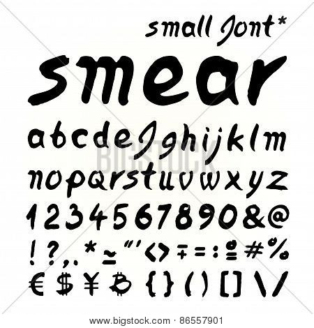 Small Letters Smear Hand Painted Font