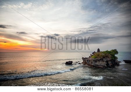 World famous Tanah Lot - or Temple of the Land in the Sea, Bali