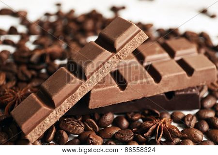 Chocolate with star anise and coffee beans, closeup