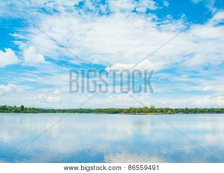 Forest Lake And Sky