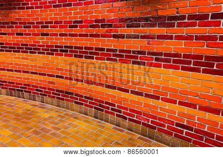Bright Brick Wall In Vivid Colors