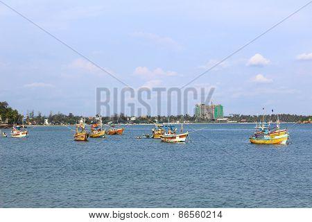 Boats for fishing, Weligama, Sri Lanka
