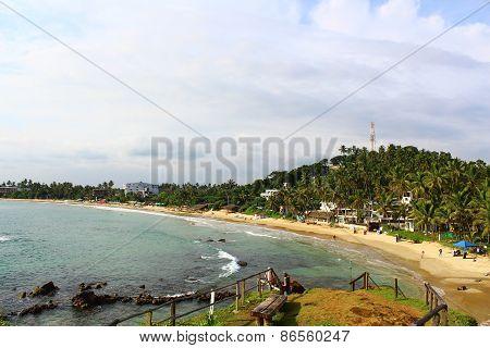 Mirissa beach and an observation deck on the cliff, Sri Lanka