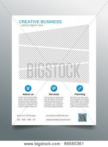 Corporate business flyer template - simple white and blue design