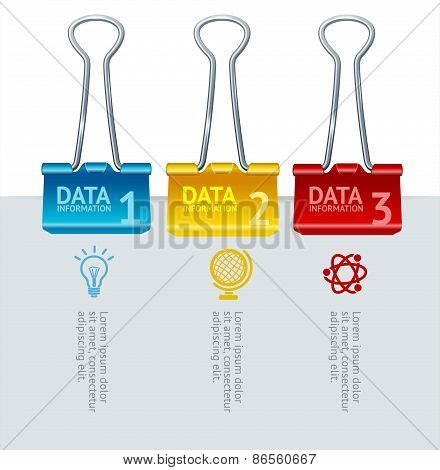 Vector colorful binder clip option banner