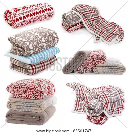 Collage of plaids isolated on white