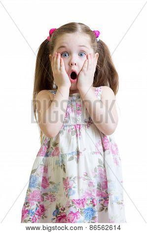 Amazed little girl closeup portrait