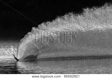 Water-Skiing Slalom Wake Black White