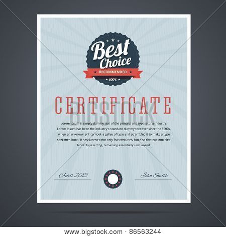 Best choice certificate for product or service.