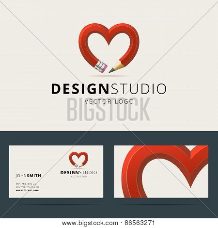 Logotype and business card template for design studio or creativ