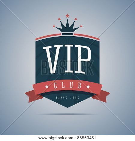 Vip club sign with ribbon, crown and stars.