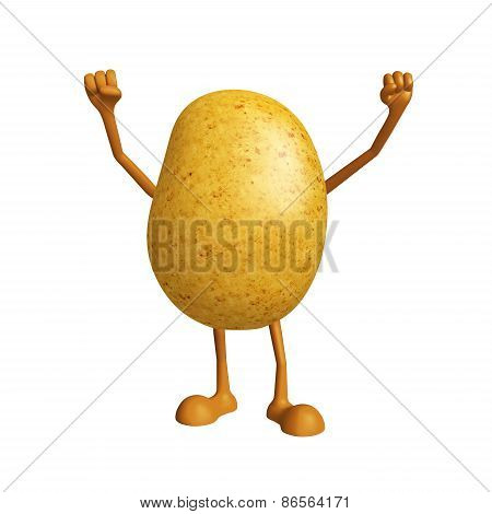 Potato Character With Happy Pose