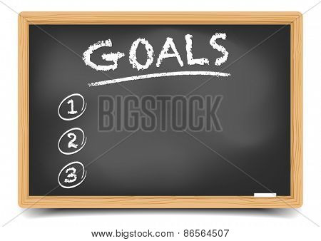 detailed illustration of a blackboard with an empty goals list, eps10 vector, gradient mesh included