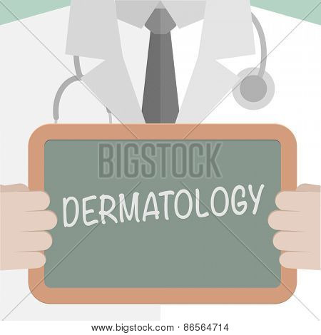 minimalist illustration of a doctor holding a blackboard with Dermatology text, eps10 vector