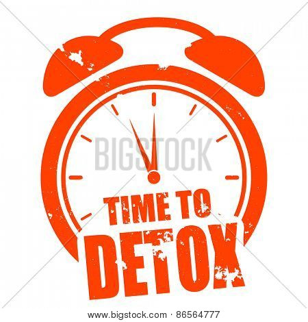 minimalist illustration of a grungy clock with time to Detox text, eps10 vector