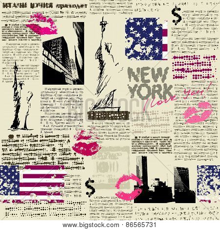 Newspaper New York with the sketch statue of Liberty